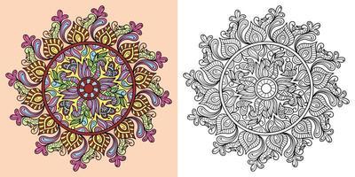 Doodle mandala página de libro para colorear para adultos y niños. decorativo redondo blanco y negro. Patrones orientales de terapia antiestrés. maraña zen abstracta. Ilustración de vector de meditación de yoga.