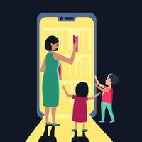 los niños y la mamá eligen un libro de una tienda electrónica o biblioteca vector
