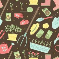 Seamless pattern of garden supplies for planting plants
