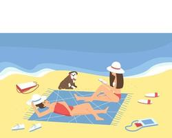 Mom and her adult daughter are relaxing on the beach by the sea vector