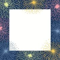 Frame with colorful fireworks on a dark background vector