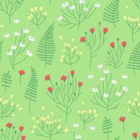 Summer flower meadow seamless pattern on green background vector