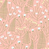 Seamless pattern of spring flower meadow on a pink background vector