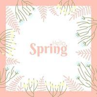Marco de la pradera de flores de primavera sobre un fondo blanco. vector