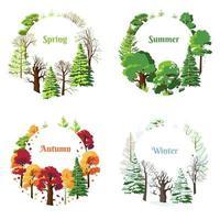 Set of seasonal vector postcards spring, summer, winter, autumn