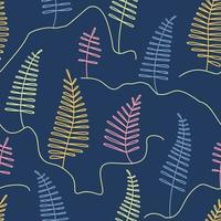 Beautiful fairytale coniferous forest seamless pattern in line art style vector