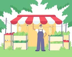 Spring summer sale of vegetables at the kiosk vector