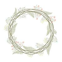 Frame of spring floral wreath on a white background vector
