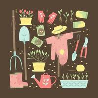 un conjunto de suministros de jardín para plantar plantas. vector