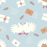 Seamless pattern with white doves - a symbol of peace and family well-being vector