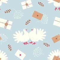 patrón sin costuras con palomas blancas, un símbolo de paz y bienestar familiar vector