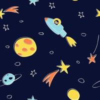 Seamless pattern of astronomical objects on a dark background vector