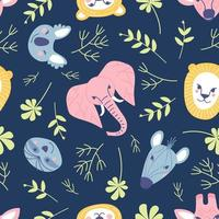 Simple animal portraits seamless pattern - sloth, koala, lion, elephant, giraffe, tiger, zebra vector