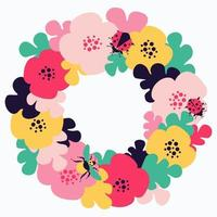 Frame with floral motives and insects vector