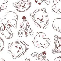 Doodle animal portraits seamless pattern vector