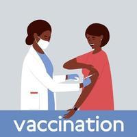 A nurse vaccinates a woman vector
