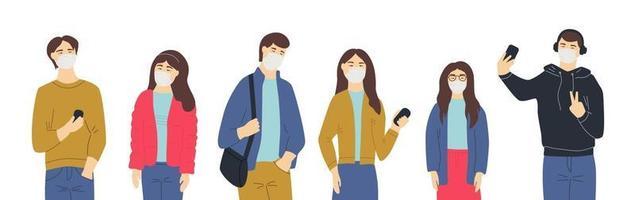 People Wearing medical masks vector