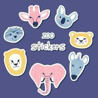 Simple animal portraits stickers vector