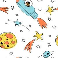 Seamless pattern of astronomical objects, represented by star clusters, planets, and an astronaut rocket vector