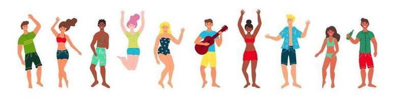 Beach party people set vector