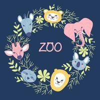 Frame from portraits of animals and plant elements vector