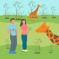 Couple at the zoo with giraffes vector
