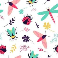 Seamless pattern with insects - butterfly, bumblebee, dragonfly, ladybug and floral motifs vector