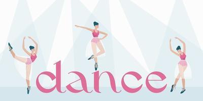 Banner para la escuela de danza, ballet, espectáculos de danza teatral. vector