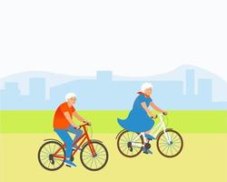 Aged couple rides bicycles in a park outside the city vector