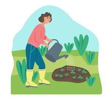 Farmer watering plants vector
