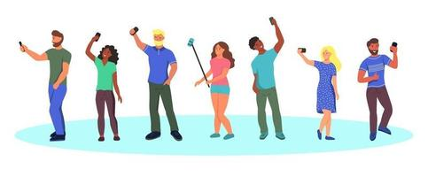 Young people in summer clothes taking selfies vector