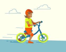 Cartoon balance bike child running for lifestyle design vector
