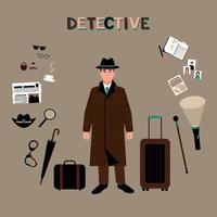 Detective accessories in retro style on background vector