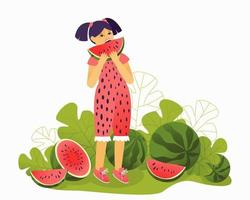 Girl in a beautiful jumpsuit eating a watermelon vector