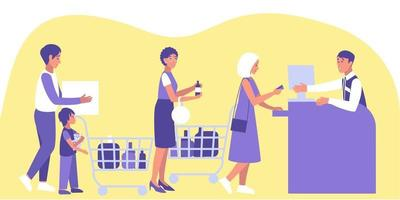 Male and female customers stand in queue at the checkout