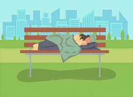 Mujer sin hogar durmiendo en un banco del parque vector