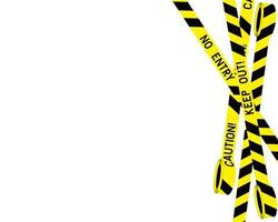 Bastidor horizontal de la policía cintas negras y amarillas sobre un fondo blanco.