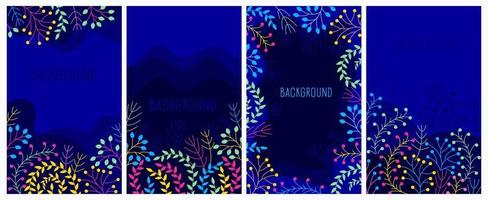 Floral banner background with night theme. vector