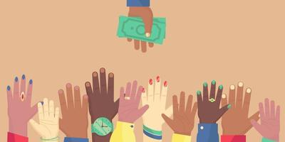 People's hands stretch up to the hand with dollar bills vector