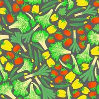 plano, seamless, patrón, verduras frescas, puerro, tomates, pepinos, pimiento, y, lechuga vector