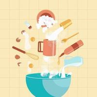 Ingredients for baking cookies vector