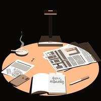 tarde en la noche, una lámpara cae sobre el escritorio vector