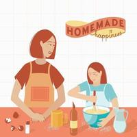Mom and daughter are preparing cookies in the kitche vector