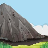 Nature scene with big stone cliff