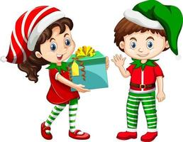 Cute boy and girl wearing Christmas costumes cartoon character vector