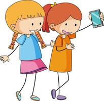 Two girls cartoon character taking a selfie in hand drawn doodle style isolated vector
