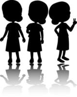 Set of kids silhouette with reflex