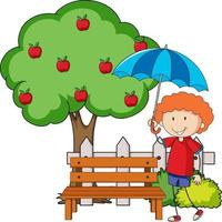 Doodle cartoon character a girl holding an umbrella with apple tree vector