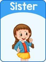 Educational English word card of sister vector