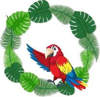 Round green leaves banner template with a parrot bird vector